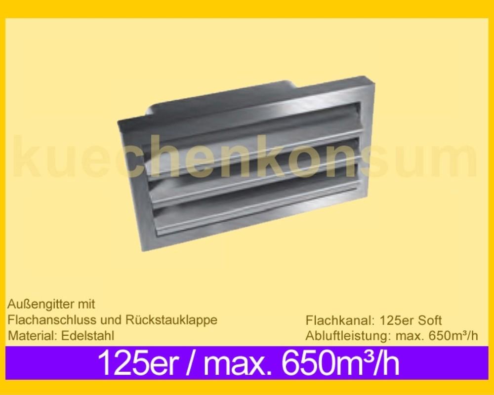 mit feststehenden Lamellen Außengitter 150erR weiß Rund-Anschlusssystem