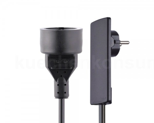 Schulte EVOline Plug 01.551 Flachstecker 1.5 m mit Kupplungsdose schwarz