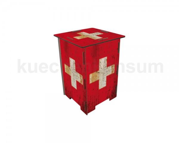 Werkhaus Photohocker Flagge Schweiz 295 x 295 x 420 mm
