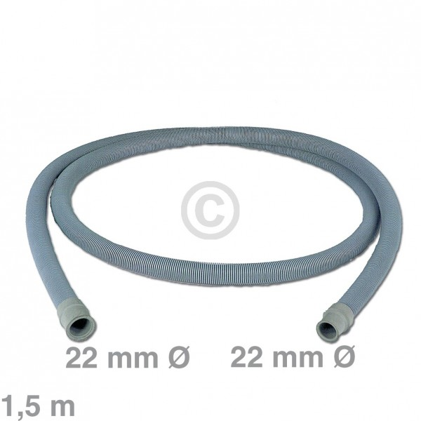 Europart Ablaufschlauch universal 22/22 mm 1,5m für Waschmaschine Geschirrspüler