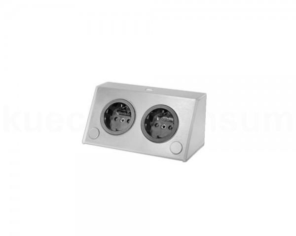 Thebo Aufbausteckdose 17912206 Edelstahl 2fach ST 3900 A ST/2 USB waagerecht
