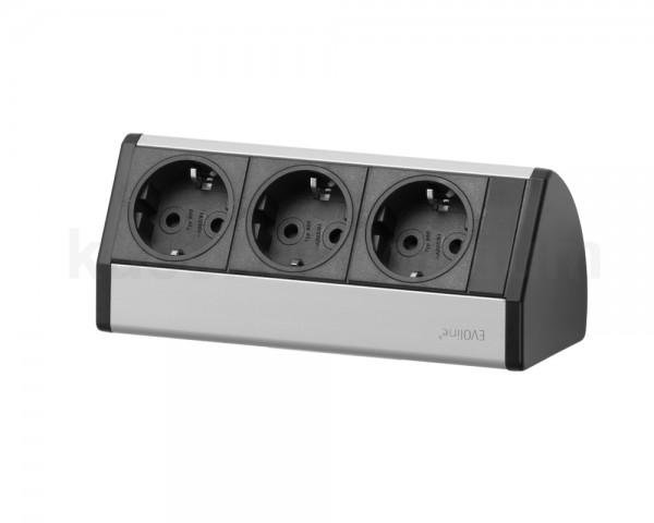 Schulte EVOline Dock 15.453 Alu 3fach Unterbausteckdose schwarz 179 mm
