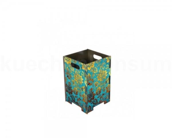 Werkhaus Papierkorb PP7803 klein blau-gold Blueten 190 x 190 x 290 mm