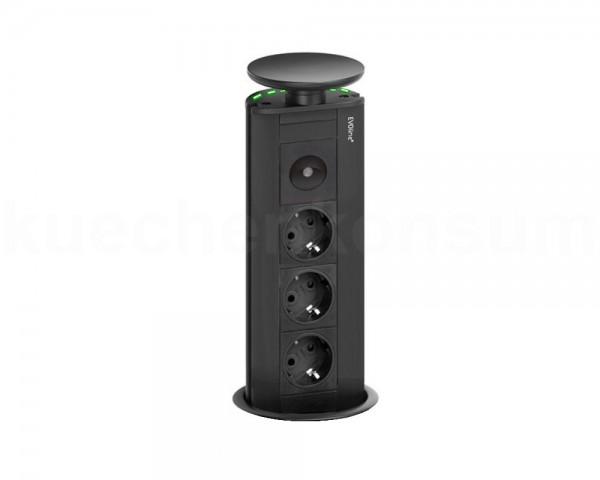 Schulte EVOline Port 01.738 versenkbare Steckdose 3fach LED grün Schwarz Nightlight