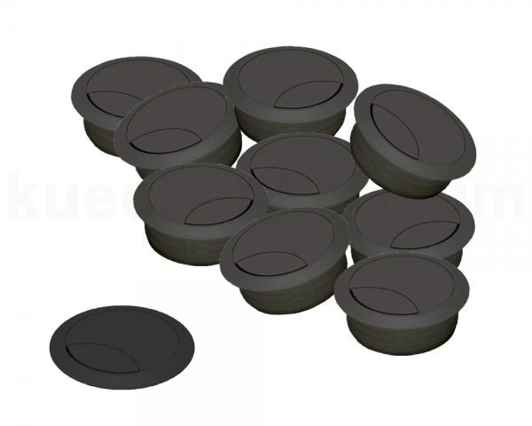 Kabeldurchlass 80 mm für Arbeitsplatte Kunststoff schwarz 10 Stück