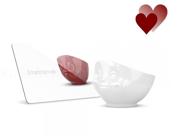 TV Tasse Frühstück-Set 01.12.05 Brettchen Schabb`disch lieb mit Schale verknallt