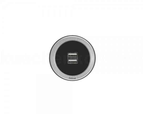 Schulte EVOline One Einbau USB Charger 00.014 schwarz Edelstahl