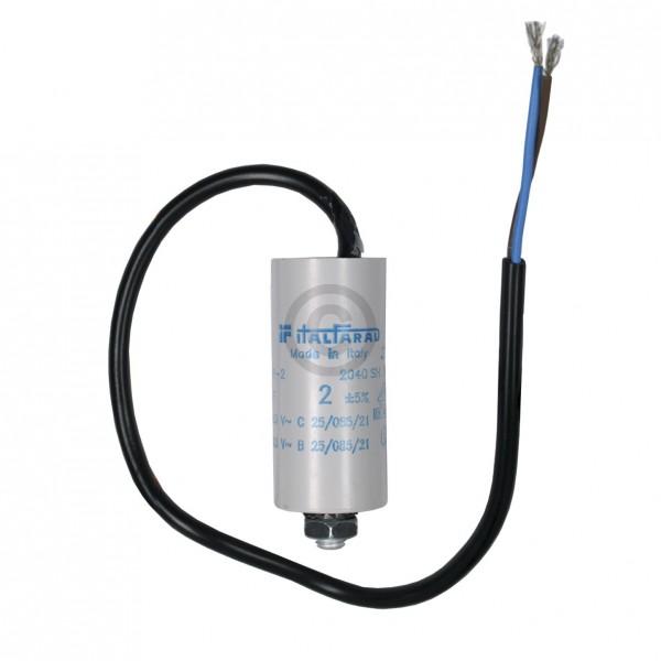 Europart Kondensator 2,00µF 450V Universal mit Anschlusskabel und Befestigungsschraube